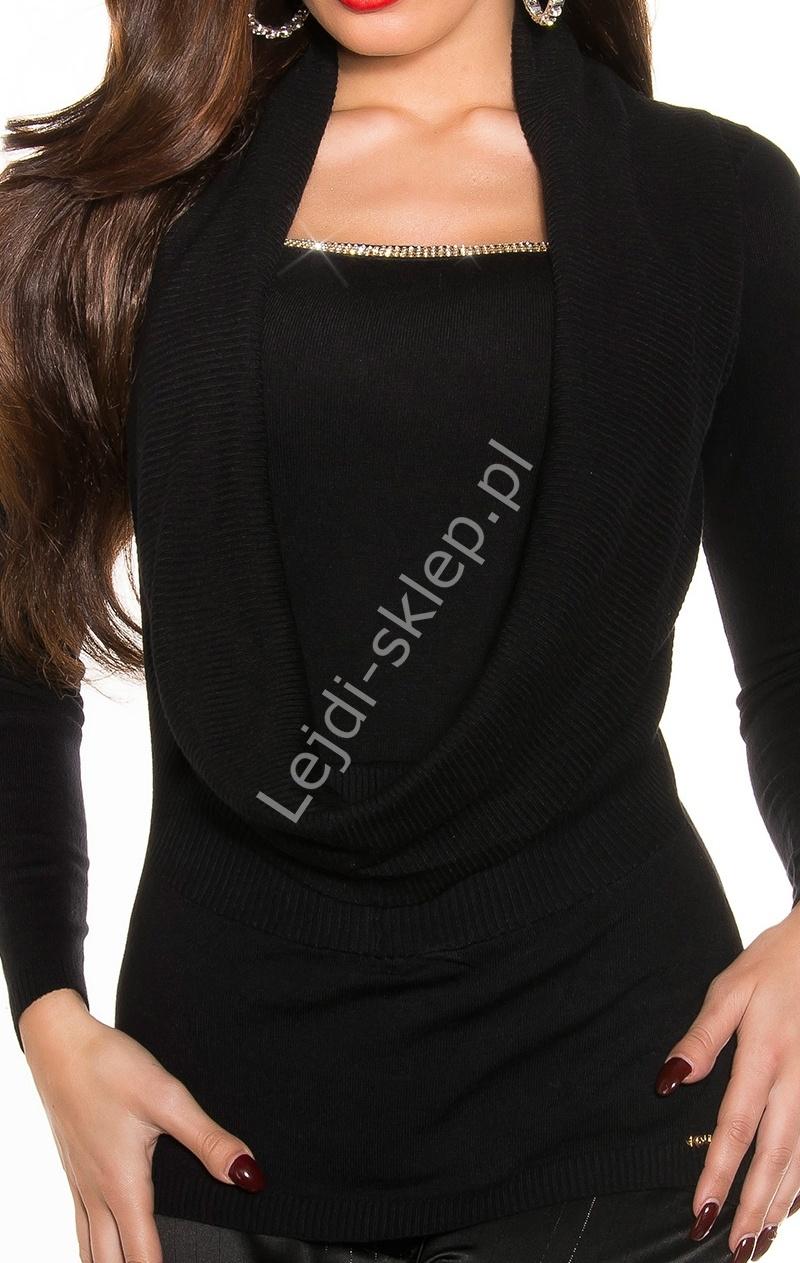 Czarny sweter z cyrkoniową taśma i dekoltem typu woda, 30% wełna + 26% sztuczny jedwab , 8242 - Lejdi