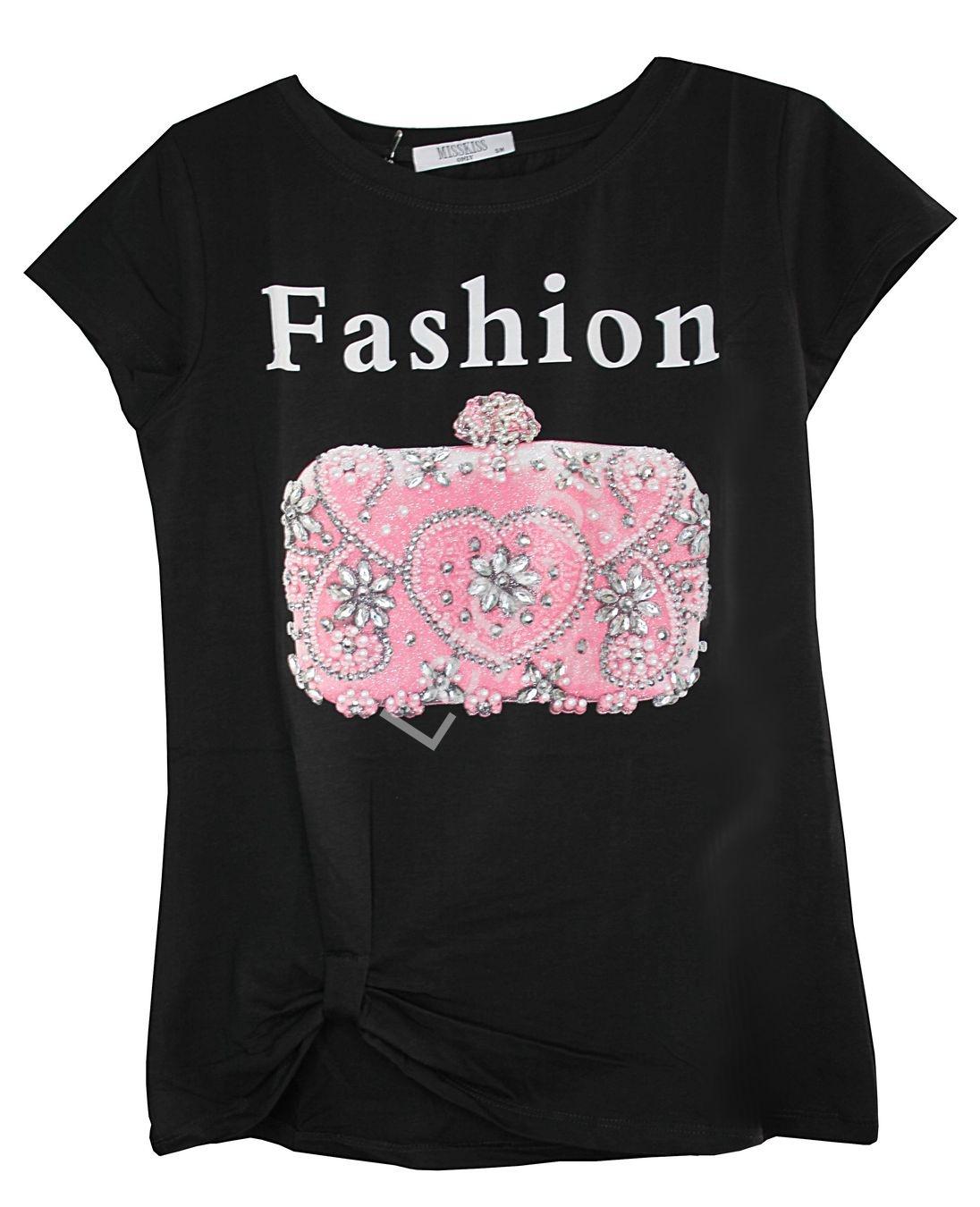 Czarny T-shirt damski z napisem Fashion i zdobioną kryształkami torebką - Lejdi