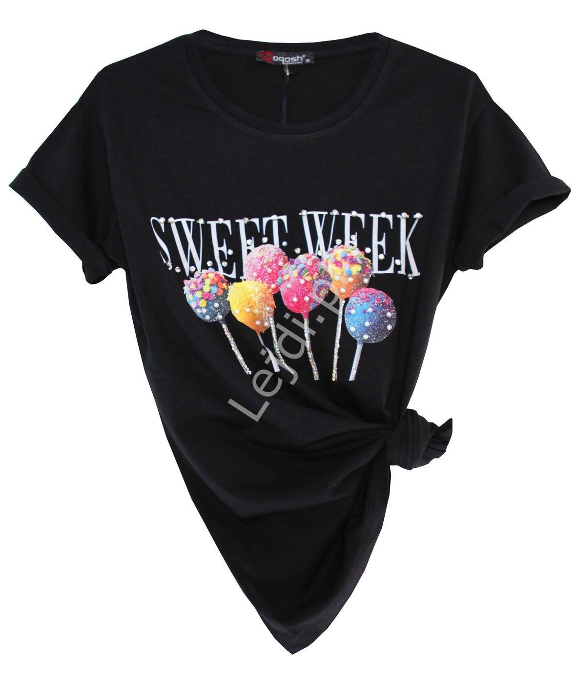Czarny t-shirt damski z zdobionymi lizakami - Lejdi