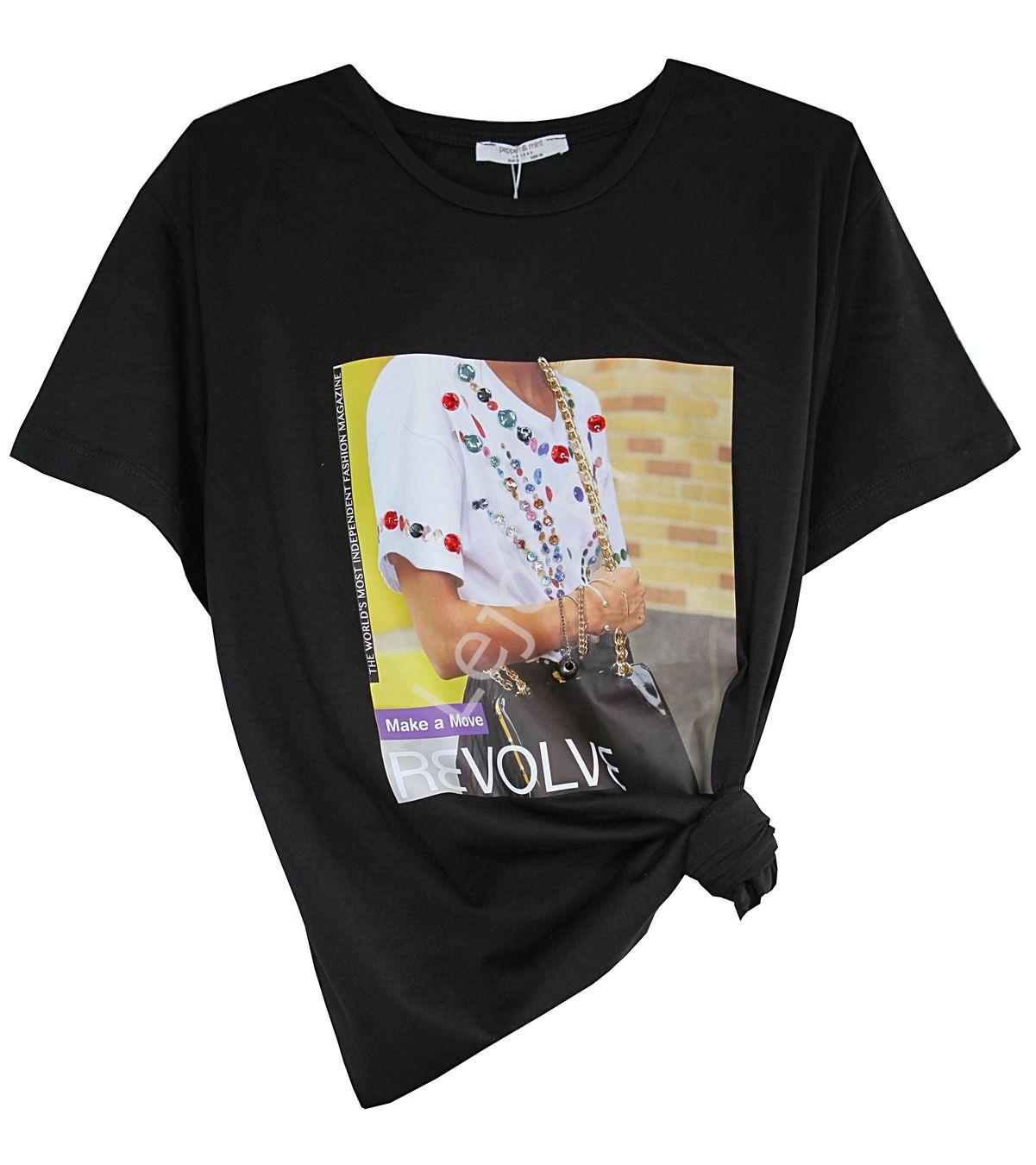 Czarny t-shirt z kryształkami i łańcuszkami - Lejdi