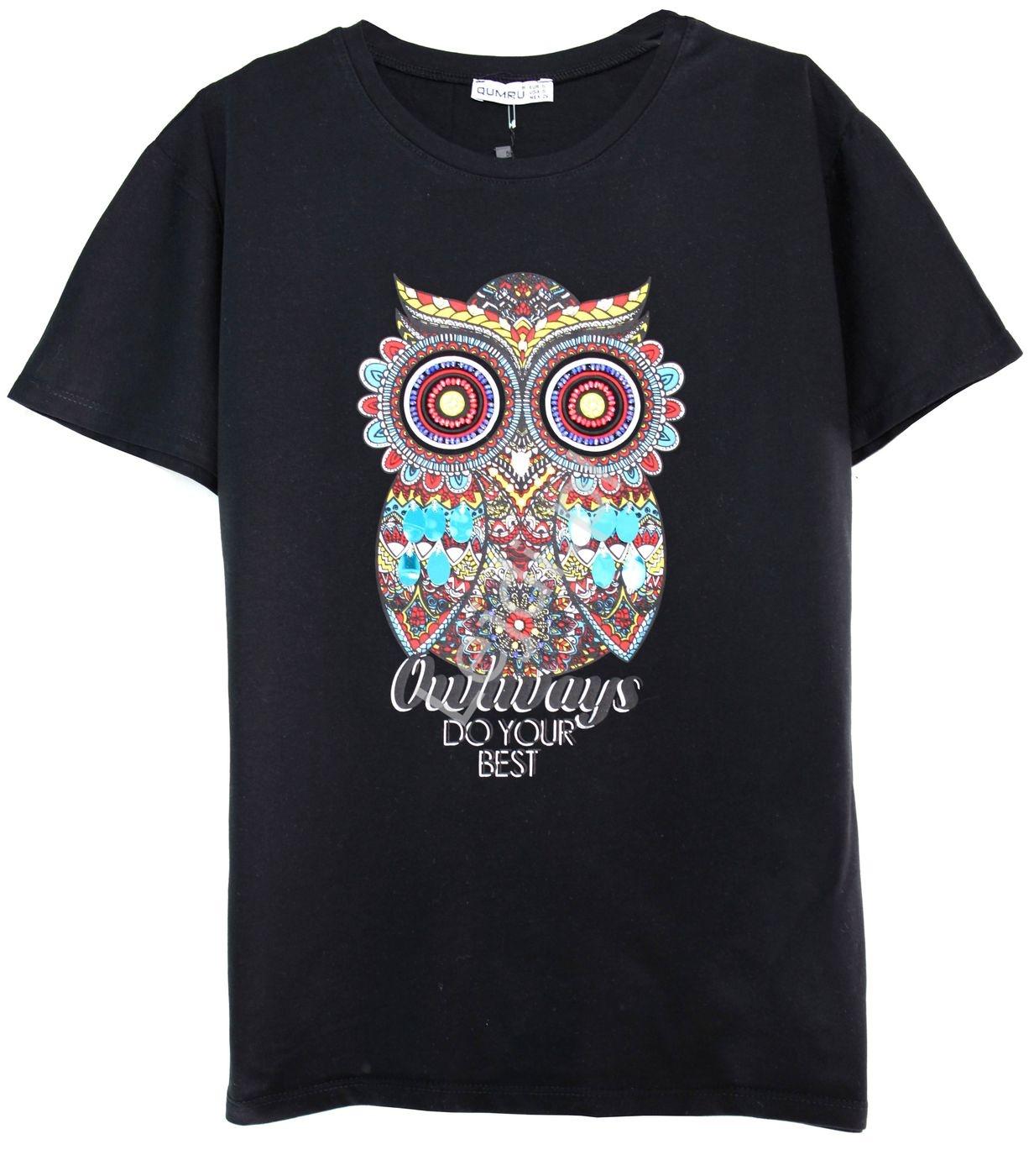 Czarny t-shirt z sową zdobioną kryształkami, cekinami i koralikami - Lejdi