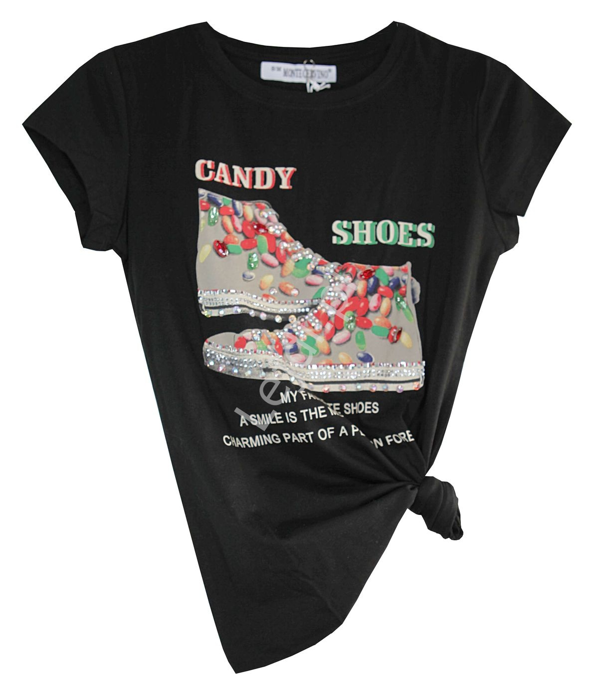 Czarny t-shirt z trampkami Candy Shoes - Lejdi
