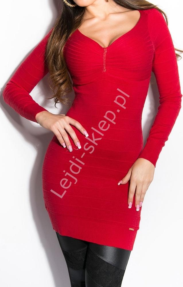 2b2ed60e4 Czerwona bandażowa sukienka / tunika z dzianiny, rozcięcia na plecach