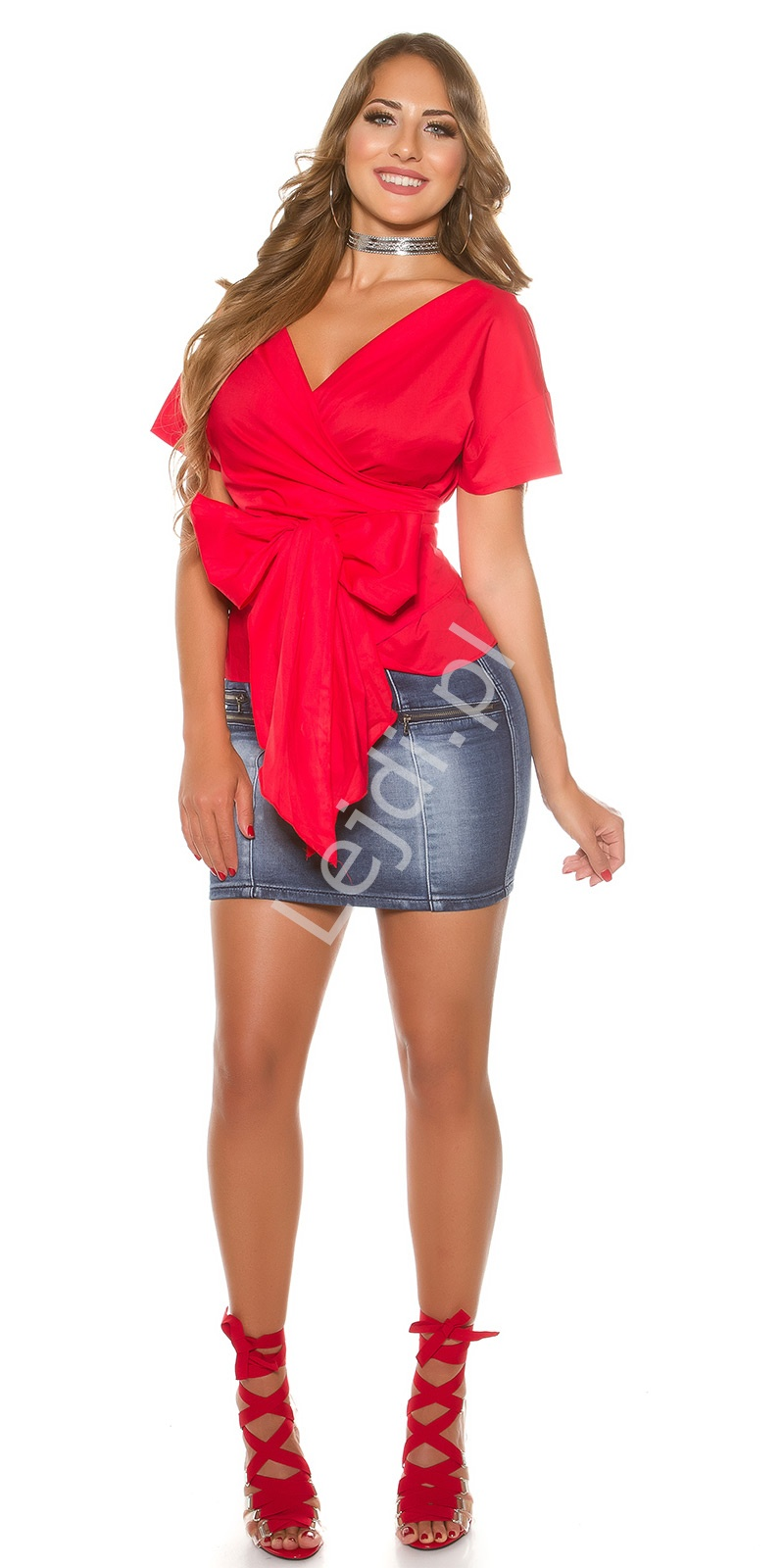 0252453547 Czerwona bawełniana koszula wiązana w pasie kokardą H9495 - Lejdi.pl