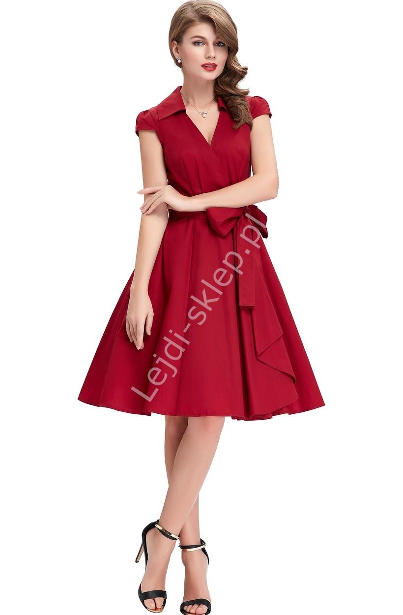 Czerwona bawełniana sukienka w stylu retro | sukienka lata 60-te - Lejdi