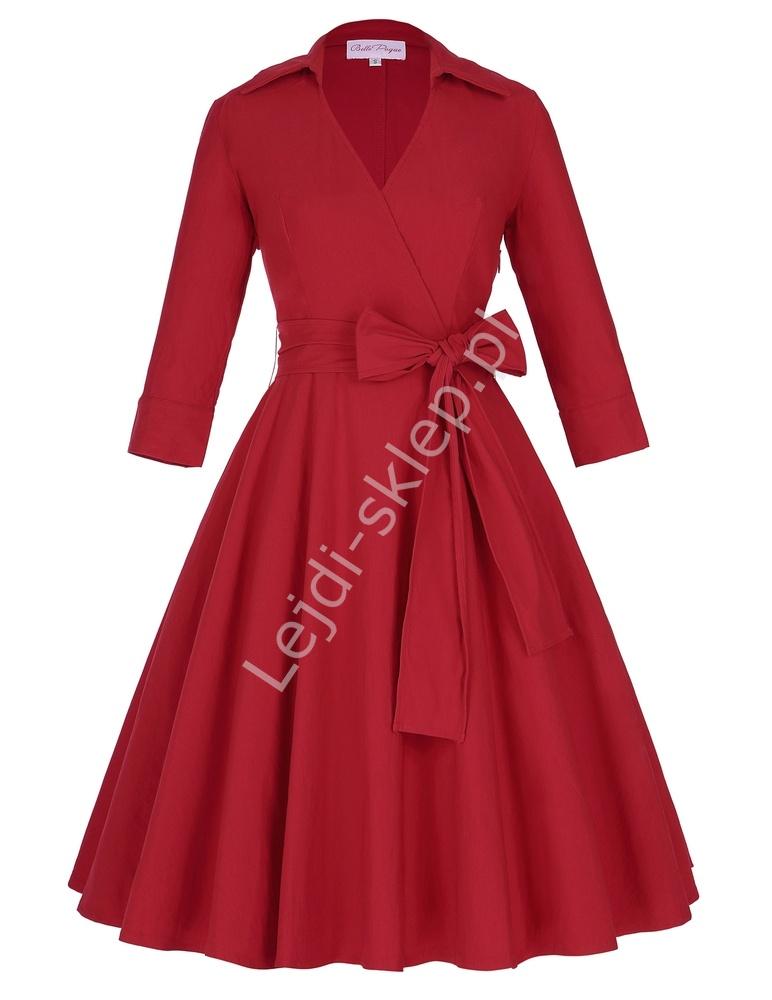 Czerwona bawełniana sukienka vintage | sukienka lata 60-te z kopertowym dekoltem - Lejdi