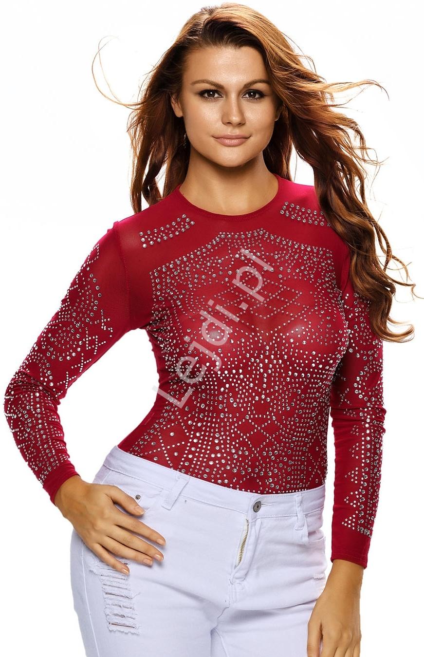 Czerwona bluzka damska z wzorem z kryształków | bluzki damskie 893 - Lejdi