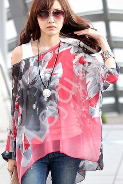 Czerwona bluzka w kwiatowe wzory | bluzki damskie 213 - Lejdi