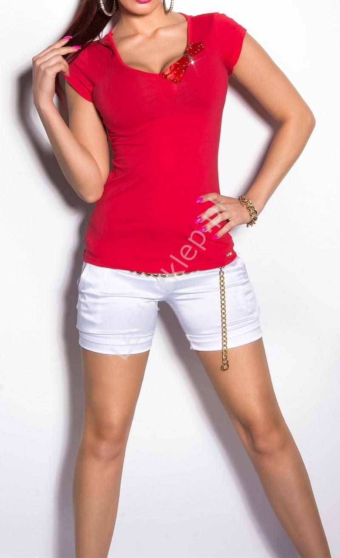 3c09108918d45b Czerwona bluzka z koronka na plecach i kryształkami   czerwone bluzki  damskie