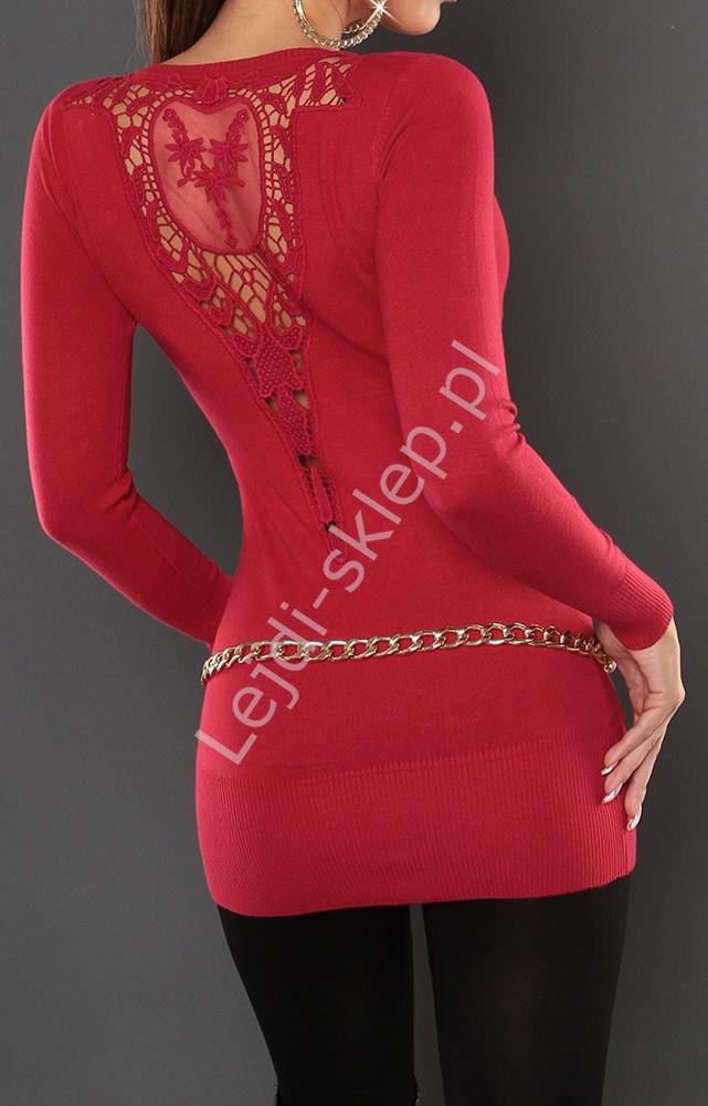 Czerwona dizninowa tunika z ozddobną koronką na plecach, 110 - Lejdi