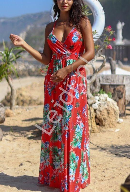 Czerwona długa kwiecista letnia sukienka - Lejdi