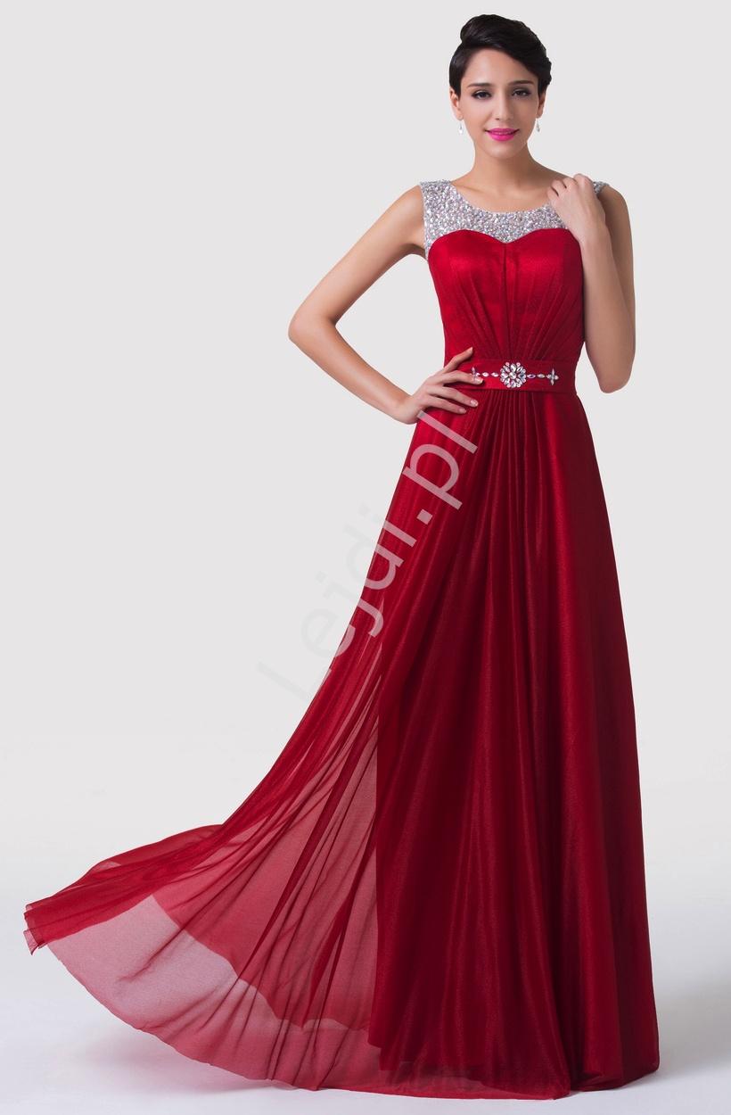 Czerwona długa suknia wieczorowa ozdobiona kryształkami - Lejdi