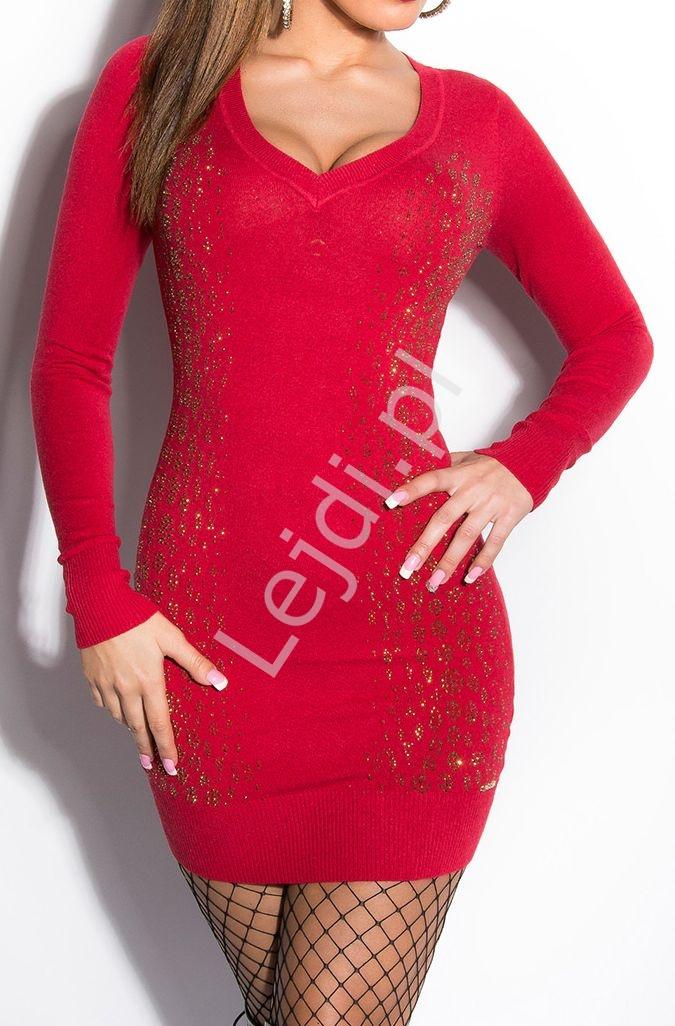 Czerwona dzianinowa sukienka ( wełna + sztuczny jedwab) z cyrkoniowym wzorem wężowej skórki, 8191 - Lejdi