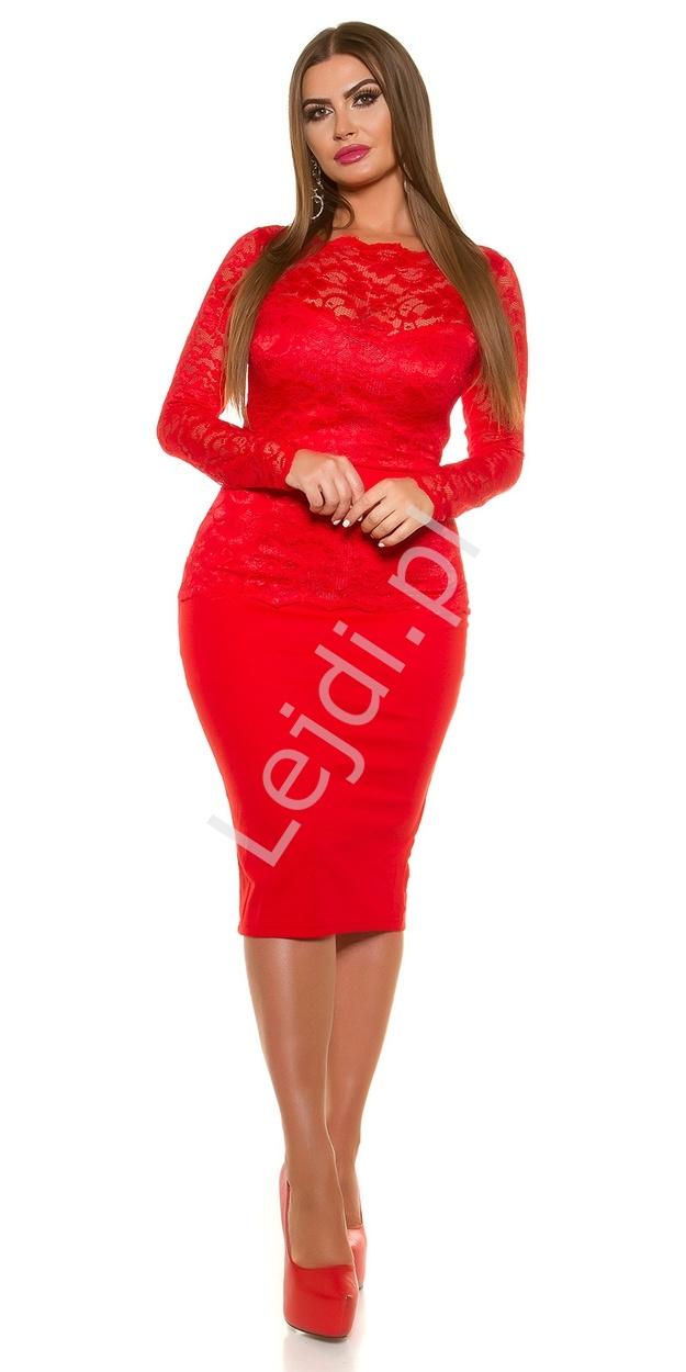 161a40b3f6 Czerwona elegancka sukienka koronkowa plus size 334p -3 duże rozmiary