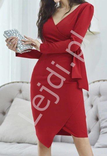 Czerwona elegancka sukienka na komunię, chrzciny i wesela 2125 - Lejdi