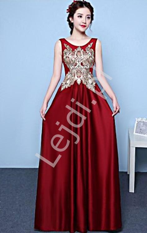 Czerwona elegancka suknia satynowa zdobiona złotą aplikacją i kryształkami - Lejdi
