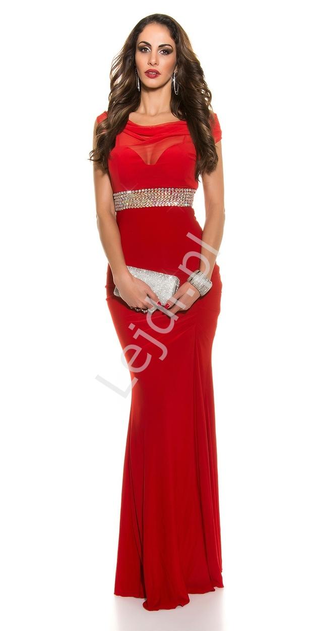Czerwona elegancka wieczorowa sukienka z szyfonowym dekoltem typu woda - Lejdi