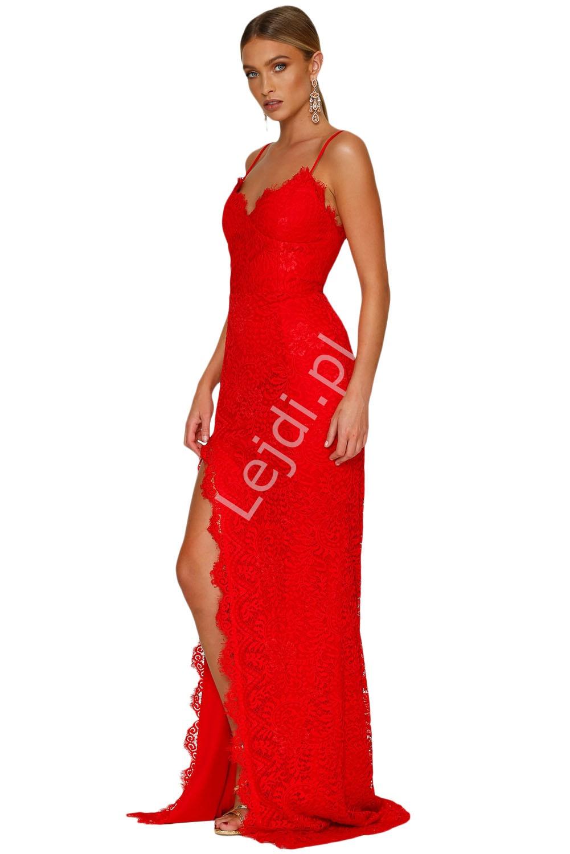 Czerwona koronkowa długa suknia wieczorowa 696 - Lejdi