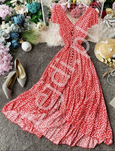 Czerwona kwiatowa sukienka letnia w romantycznym stylu 3724 - Lejdi