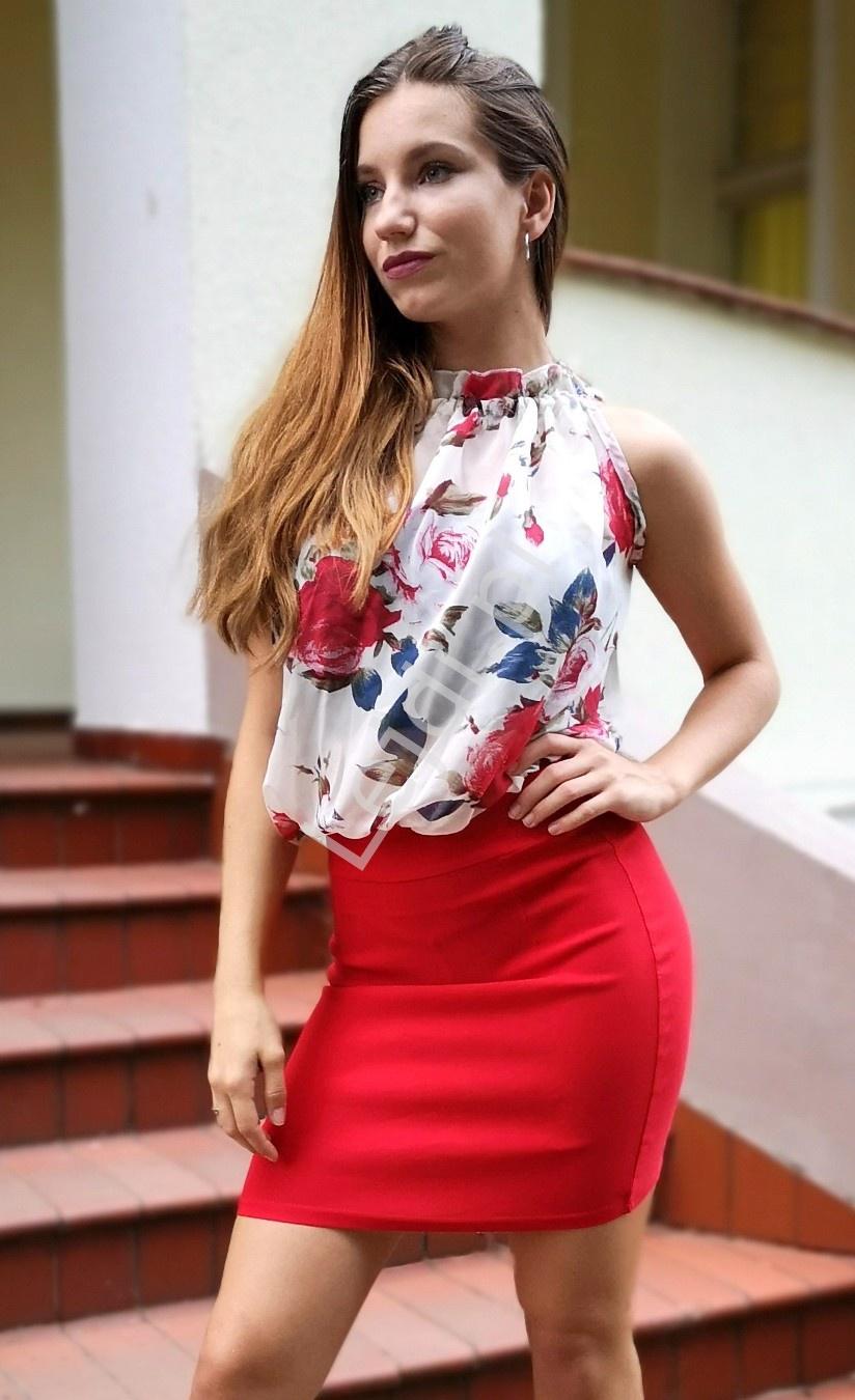 Czerwona mini sukienka z szyfonowa kwiatową górą 655 - Lejdi