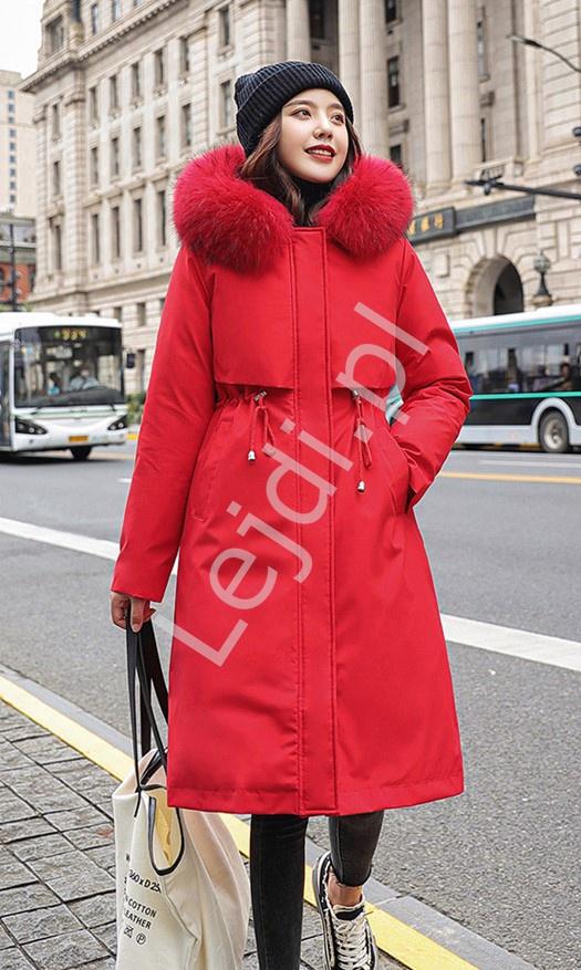Czerwona parka z podpinką, damska kurtka 2w1 letnio zimowa 9791 - Lejdi