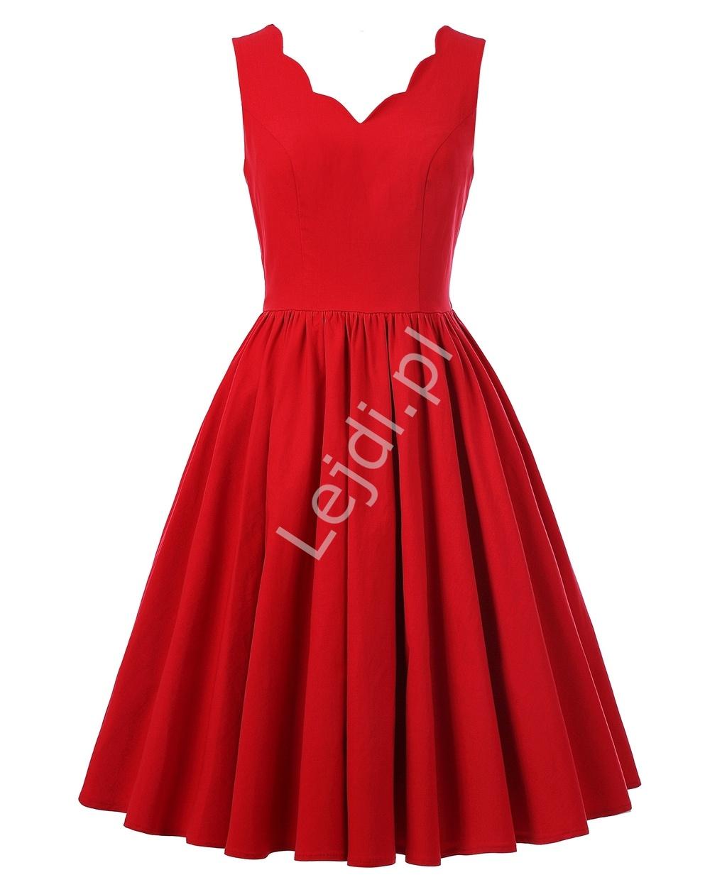 Czerwona rozkloszowana sukienka pin up na wesele, święta - Lejdi