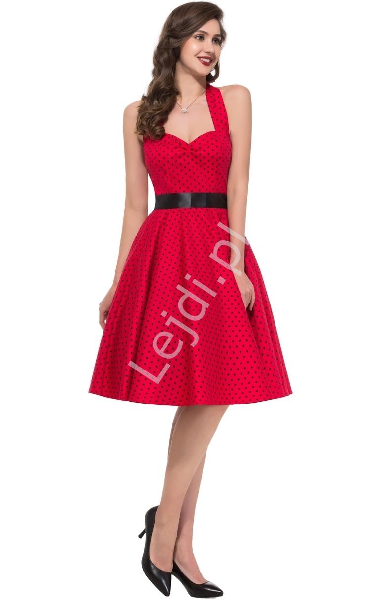 Czerwona rozkloszowana sukienka w czarne kropeczki | sukienka pin up na wesele 4599 - 7 - Lejdi