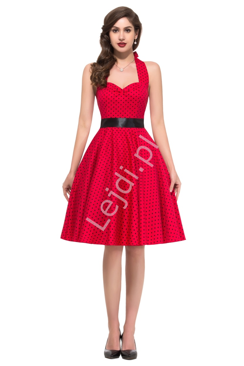 Czerwona rozkloszowana sukienka w czarne kropeczki, pin up na wesele 4599-7 - Lejdi