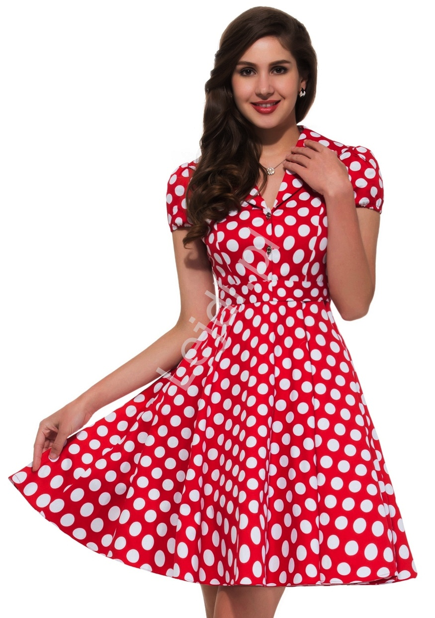 Czerwona rozkloszowana sukienka w białe duże kropki, pin up na wesele 6089-2 - Lejdi