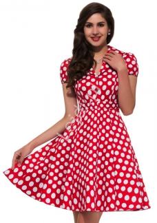 375ff84457 Czerwona rozkloszowana sukienka w białe duże kropki