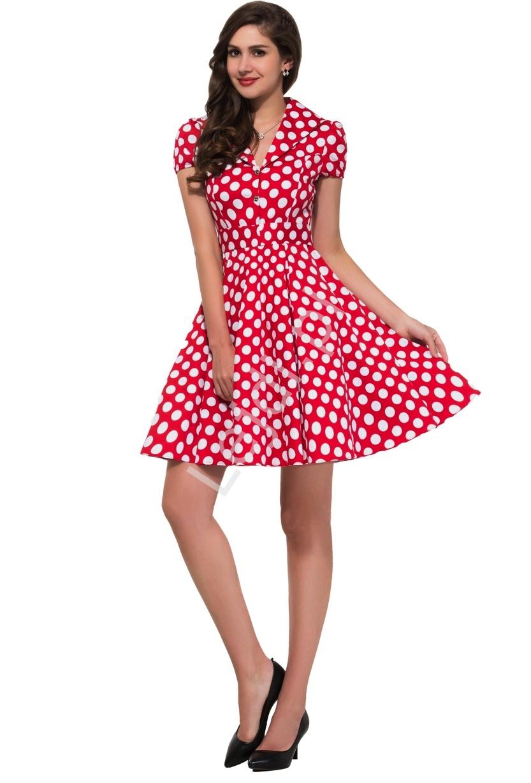 4538932ca7 Czerwona rozkloszowana sukienka w białe duże kropki