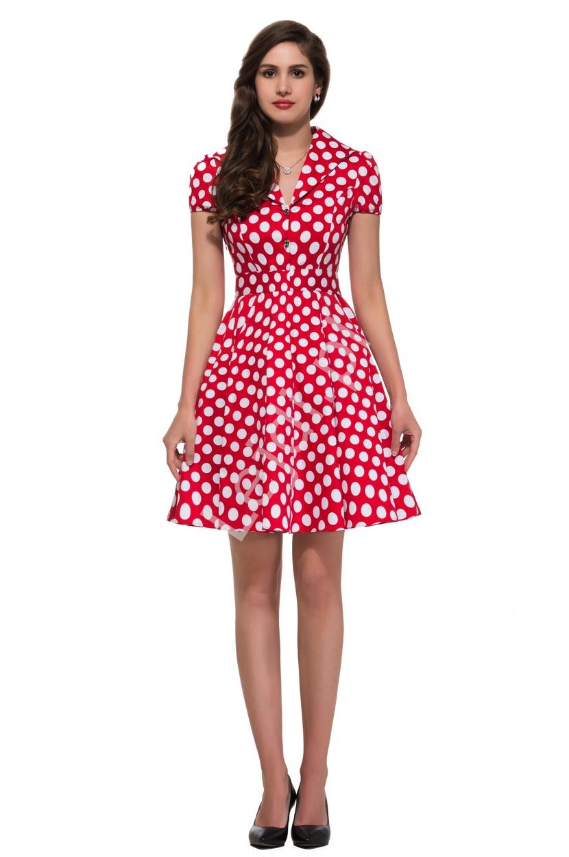 fe0d533b Czerwona rozkloszowana sukienka w białe duże kropki, pin up na ...