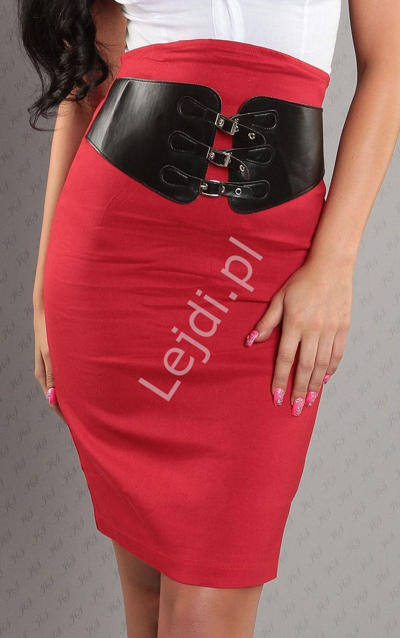 Czerwona spódnica ołówkowa z czarnym szerokim paskiem - Lejdi