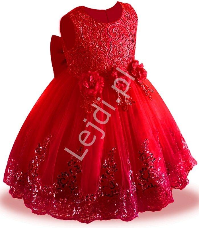 Czerwona sukienka dla dziewczynki tiulowa, zdobiona błyszczącymi cekinami - Lejdi