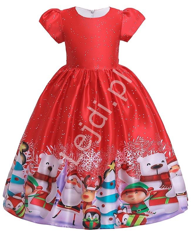 Czerwona sukienka dla dziewczynki w świątecznym stylu 052 - Lejdi