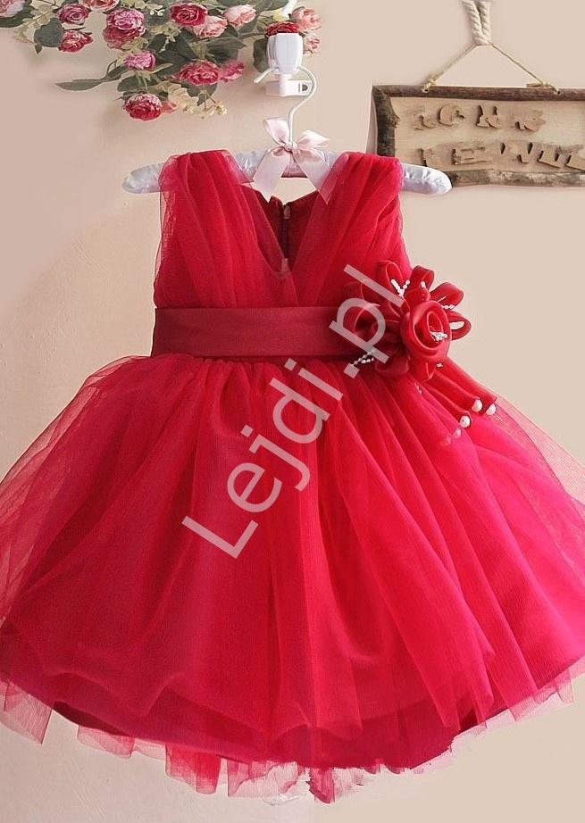 5fc64d41af9d22 Czerwona sukienka dla dziewczynki z kwiatkiem w pasie na wesele, urodziny  czy święta