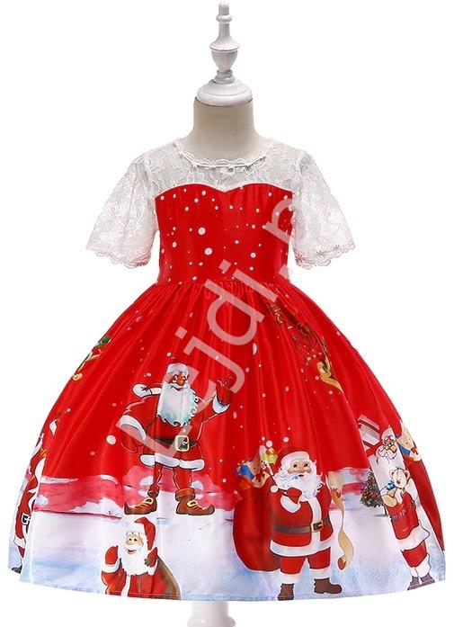 Czerwona sukienka dla dziewczynki z Mikołajami, Świąteczna sukienka dziecięca 41G - Lejdi