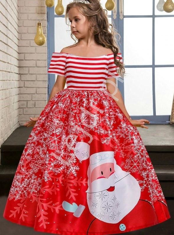 Czerwona sukienka dla dziewczynki z świętym Mikołajem 056 - Lejdi