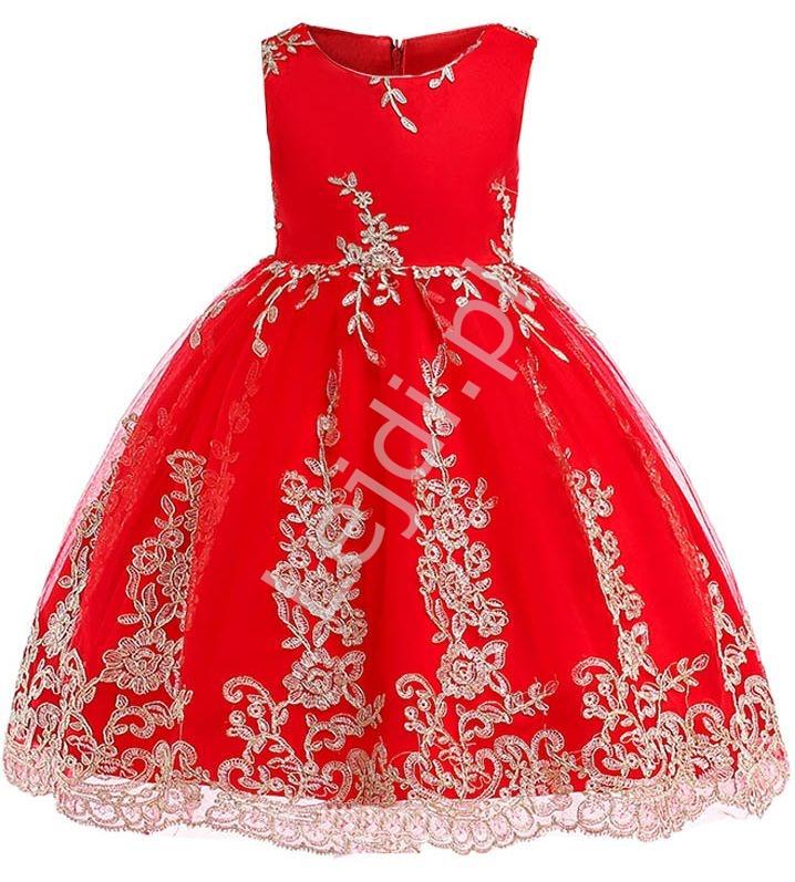 Czerwona sukienka dla dziewczynki ze złotym haftem na tiulu - Lejdi