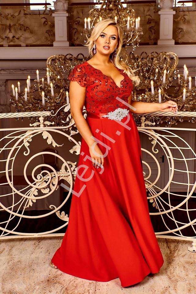 Czerwona sukienka na studniówkę, wesele, bal z rozporkiem Crystal 2 - Lejdi