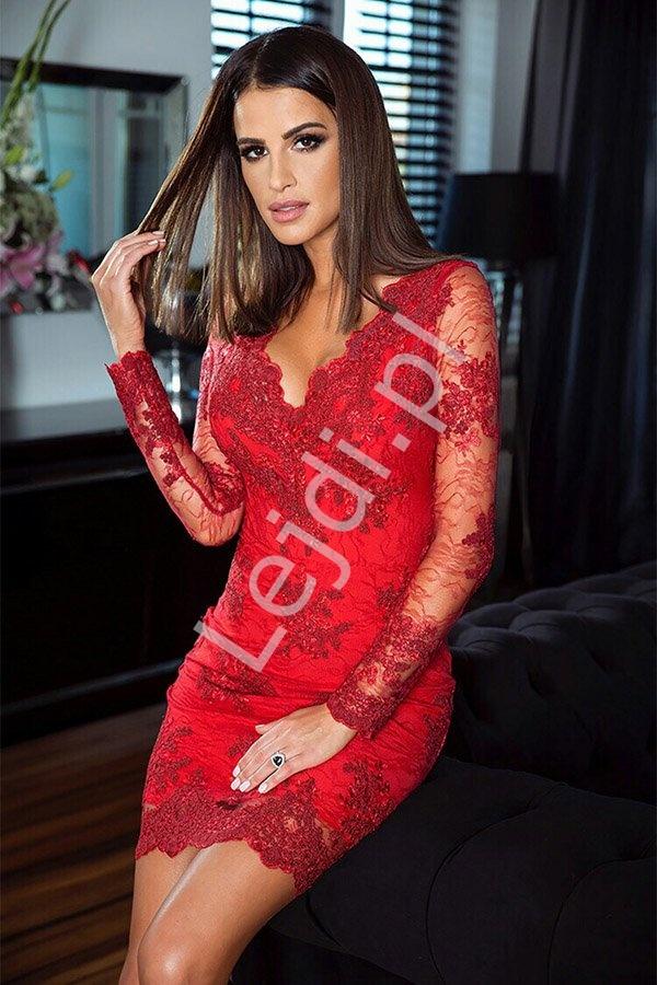 Czerwona sukienka, obcisła koronkowa sukienka wieczorowa Diana - Lejdi