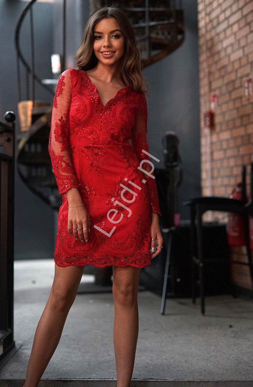 Czerwona sukienka, obcisła koronkowa wieczorowa Diana - Lejdi