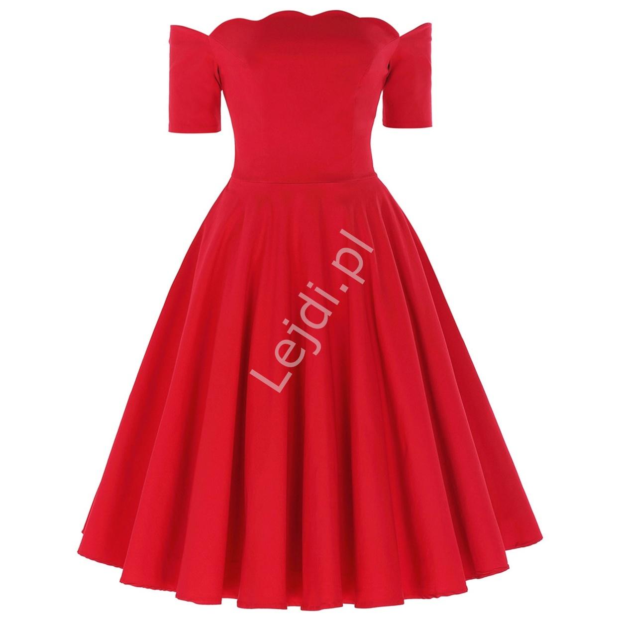 Czerwona sukienka pin-up z falistym dekoltem - carmen style - Lejdi