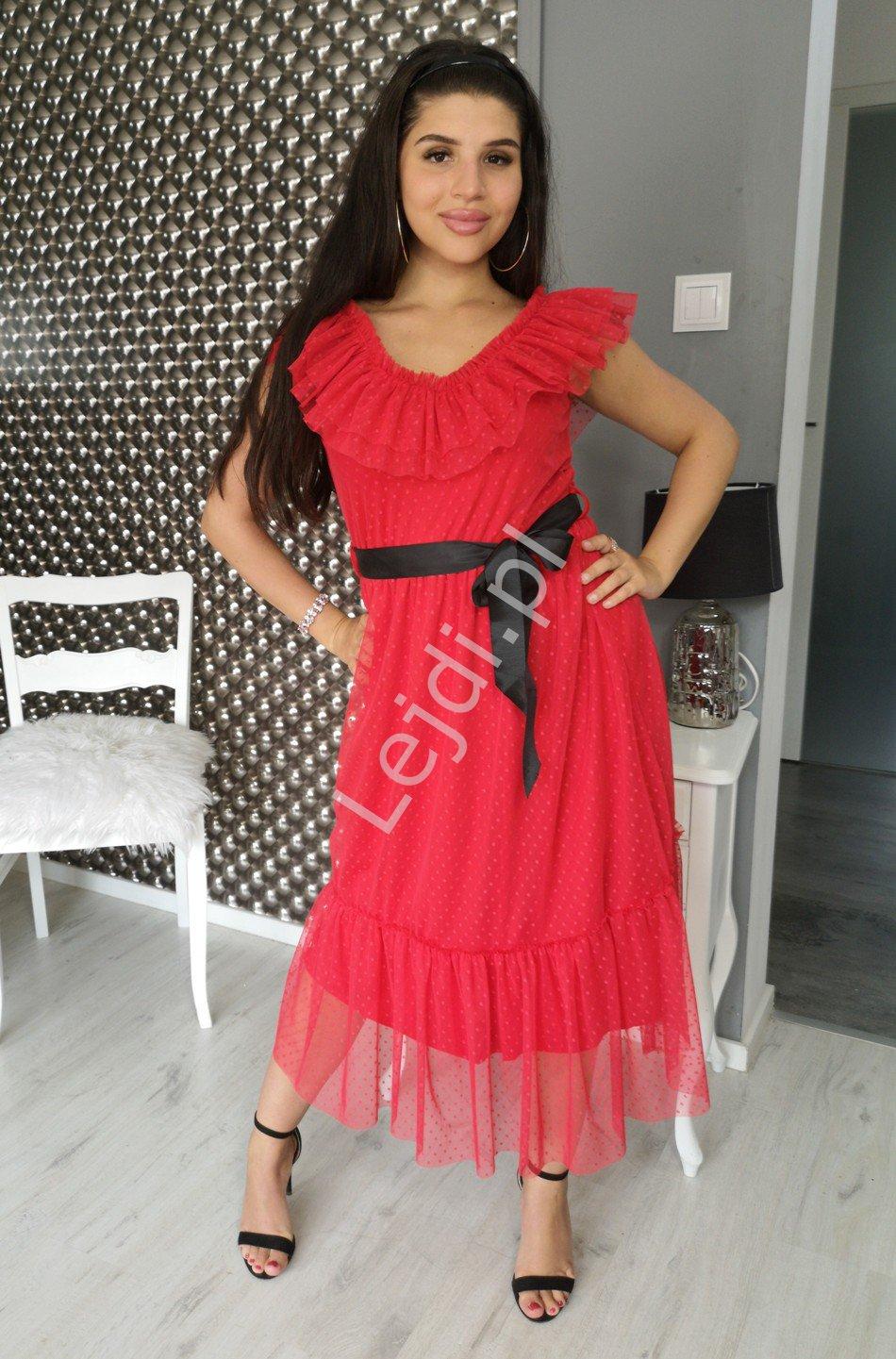 Czerwona sukienka tiulowa w kropki, Tiana - Lejdi