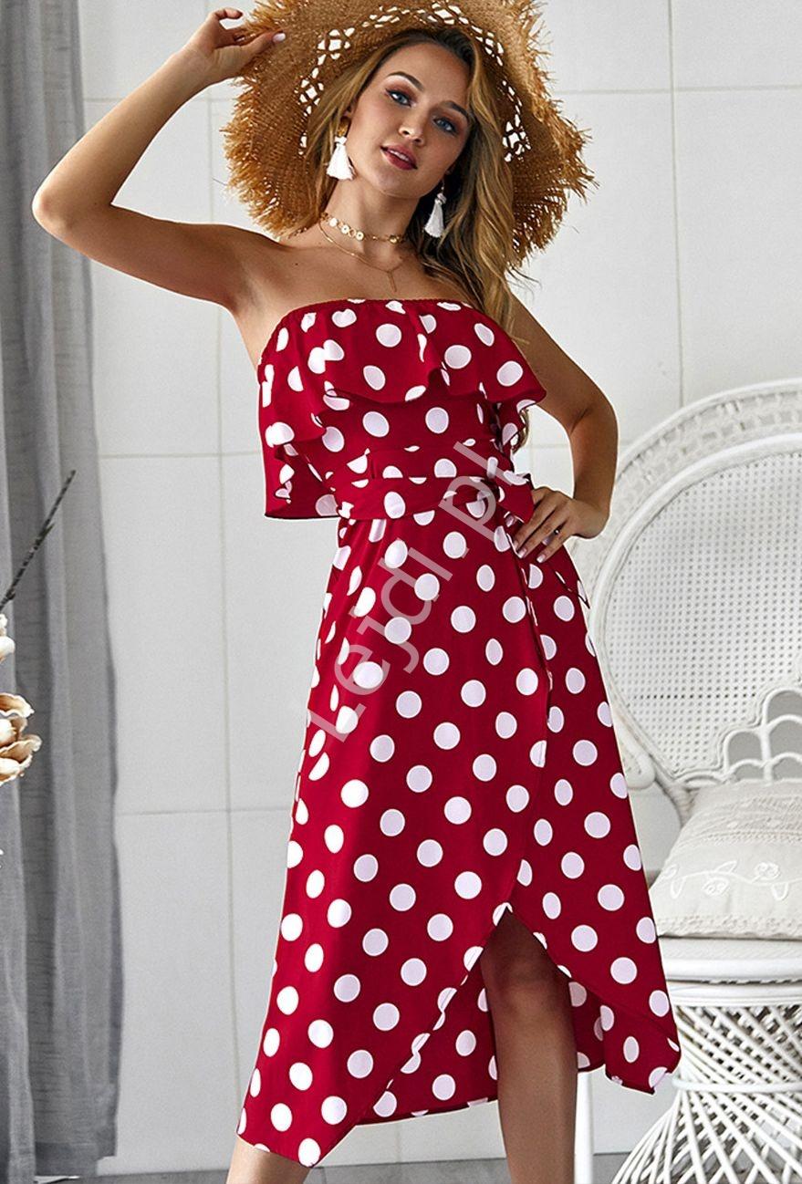 Czerwona sukienka w kropki z falbaną - Lejdi