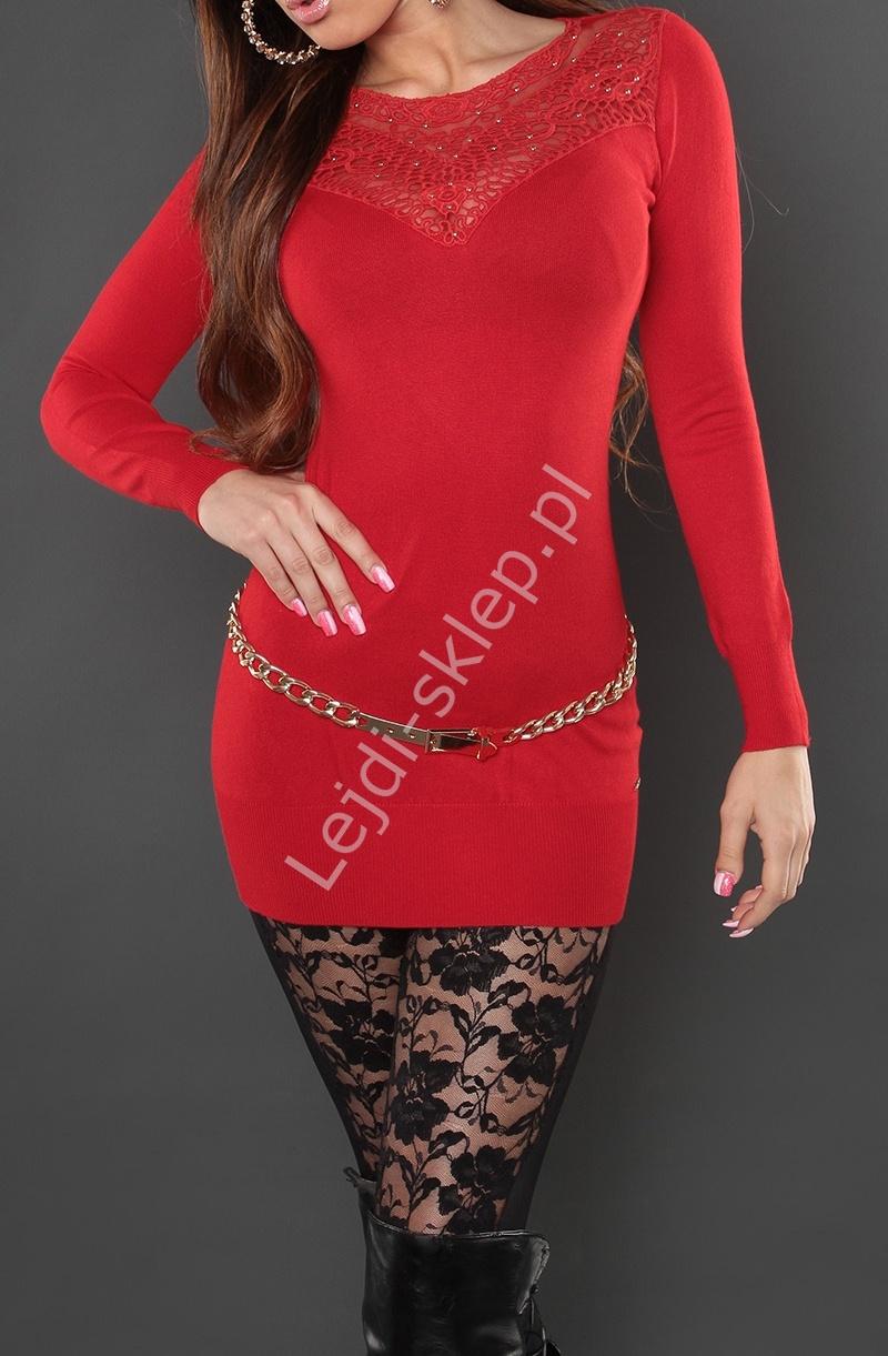 Czerwona sukienka z dzianiny z koronką - haftem na tiulu, 809 - Lejdi