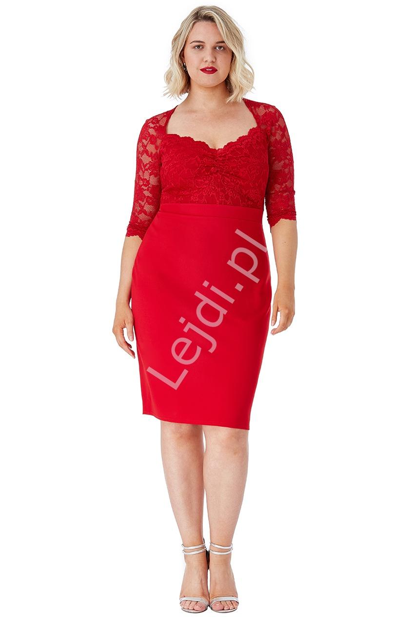 Czerwona sukienka z koronki Plus Size, Goddiva 1544 - Lejdi