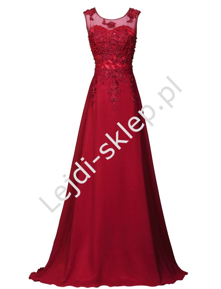 756eefb46b Czerwona sukienka z perłami - ciemne wino - Lejdi.pl