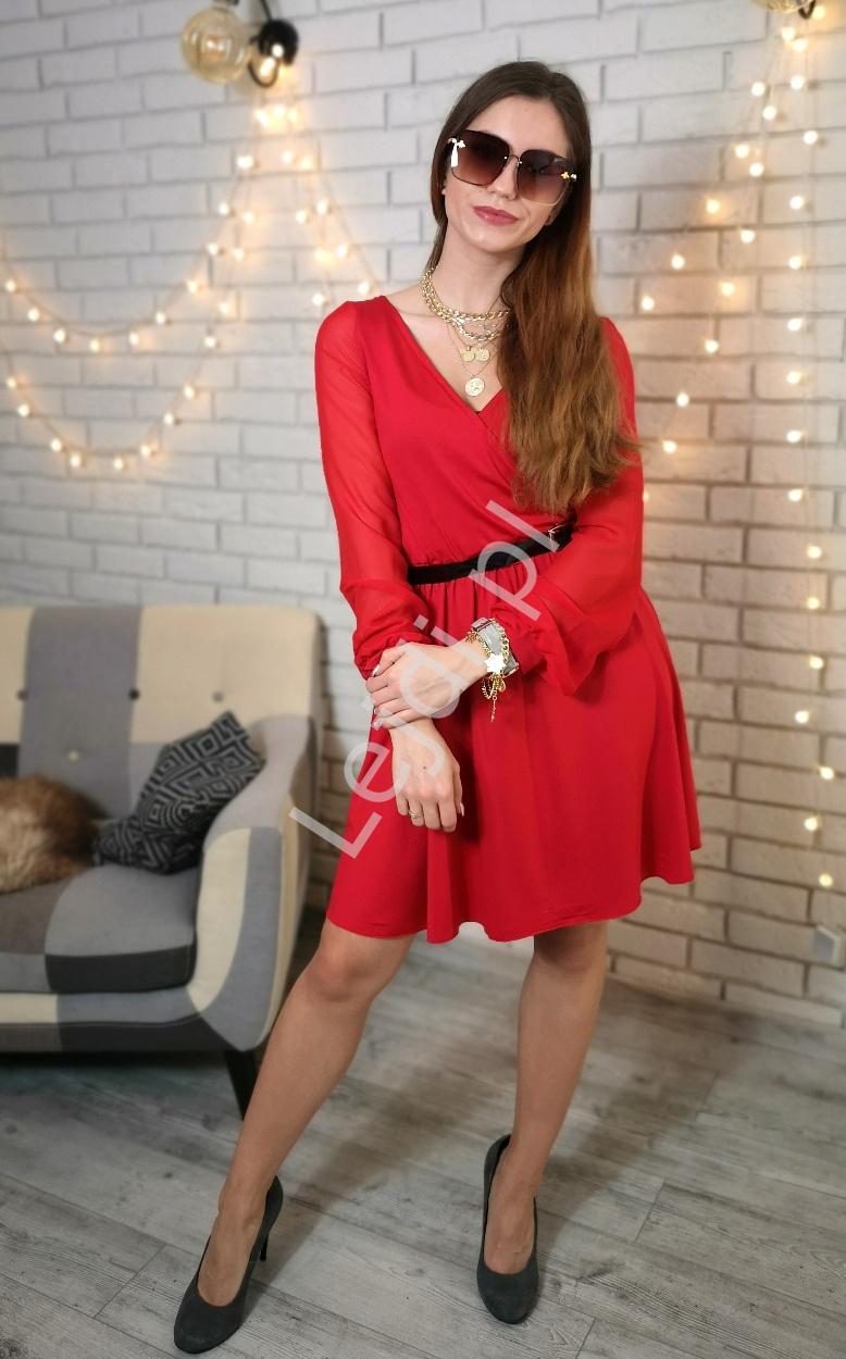 Czerwona sukienka z szyfonowym rękawem 1191 - Lejdi