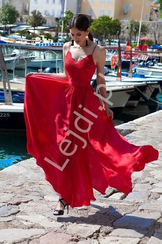 Czerwona suknia wieczorowa na studniówkę lub wesele, Bella - Lejdi